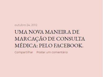 UMA NOVA MANEIRA DE MARCAÇÃO DE CONSULTA MÉDICA: PELO FACEBOOK